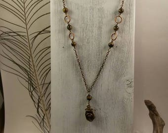 Hand Wrapped Tiger Eye Pendant Necklace, Long Necklace, Crystal Healing, Hand Crafted, Vintage Look Boho Necklace, Reiki, Protection Amulet