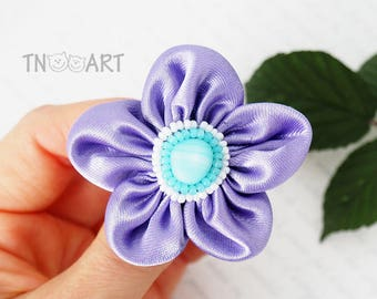 SALE Purple Flower Brooch / Textile brooch pin / embroidered brooch / violet blue color satin fabric flower