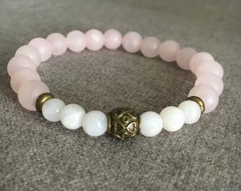 Matte Rose Quartz and Moonstone Beaded Bracelet