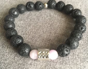 Aquarius Black Lava Stone and Kunzite Beaded Bracelet