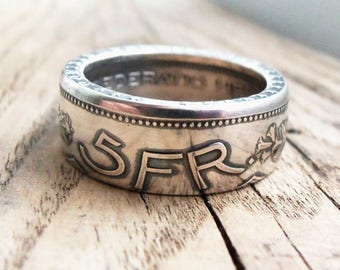 Swiss 5 Franc Silver Coin Ring - Silver coin rings - Helvetia - Swiss jewelry