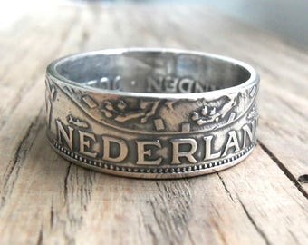 Silver Coin Ring Netherlands - Dutch Coin Ring - Netherlands 2 1/2 Gulden - Dutch jewelry - Holland - Rings from coins