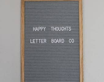 "Gray felt letter board 12""x18"" white plastic letters,numbers,symbols"