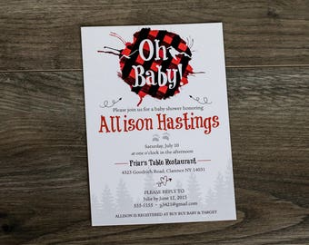 Rustic Themed Baby Shower Invitation