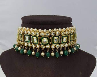 Gorgeous Indian green kundan bridal / non-bridal choker earrings set with white beads and semi-precious stone beads