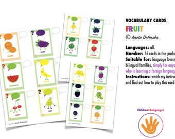 Vocabulary cards: fruits - foreign language learning for children