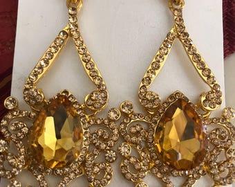 3 Inch Canary Yellow Pierced Earrings