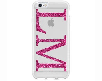 Personalised Pink Glitter initials Gel Phone Case for Apple iPhone 5 6 6s 7 8 Plus & Samsung Galaxy Personalized Customized Monogram