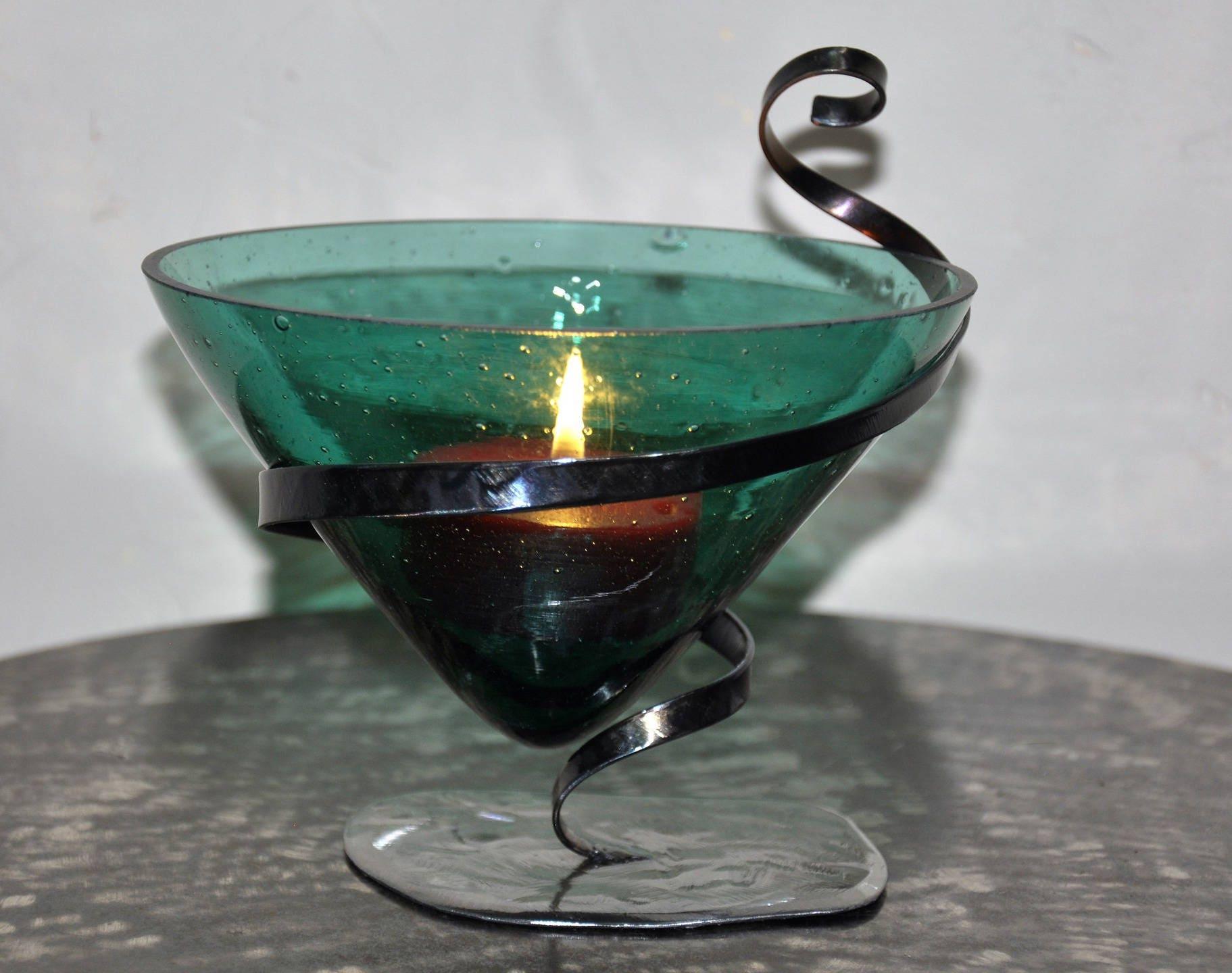 Bougeoir fer forg avec photophore en verre - Bougeoir mural fer forge ...