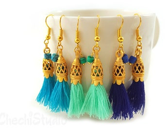 Tassel Earrings, Mini Tassel Earrings, Bridesmaid Gift, Gold Tassel Earrings, Boho Earrings Tassel Jewelry, Fringe Earrings, Tassel Jewelry