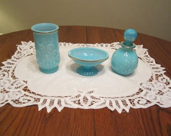 Vintage Avon Opalescent Blue Bathroom Set