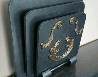 Metallic Paint Over Vintage Wooden Letter Holder Wall Pocket