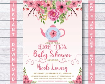 Baby Shower Tea Party Invitation, Instant Download, Vintage Baby Tea Party, Baby Shower Tea Invitation, Baby Shower Tea Party, Tea