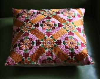Vintage Floral Stitched Pillow