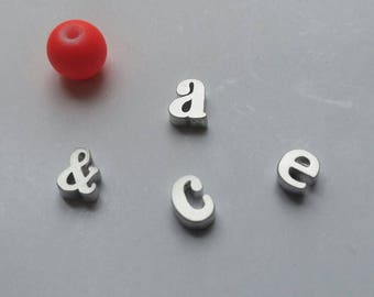 1 Lowercase E Silver Charm, Alphabet Charm Sliding Letter Initial Delicate Minimalist Jewelry