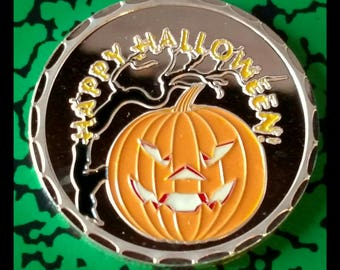 Halloween Pumpkin Haunted House Witch Colorized Silver Plated Art Coin