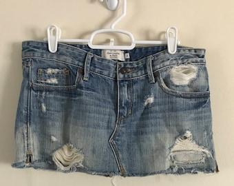 Abercrombie & Fitch Distressed Mini Jean Skirt