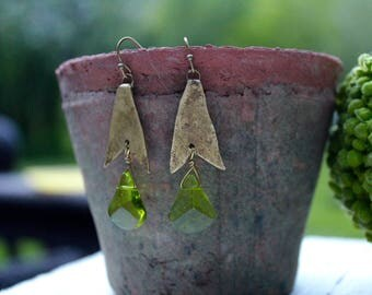 Green & Brass Earrings