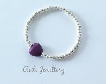 Girls Purple Heart Bracelet, Silver Bracelet, Girls Bracelet, Stretch Bracelet, Silver Bead Bracelet, Beaded Bracelet, Silver Ball Bracelet