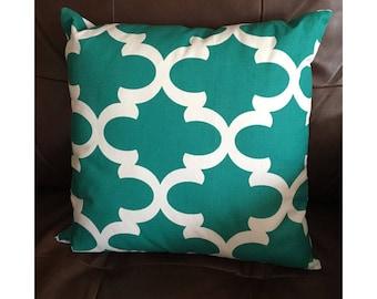 Turquoise and White Throw Pillow