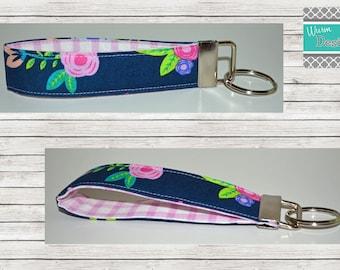 Navy/Pink/Light Blue Floral, Keychain, Key Fob, Wristlet Keychain, Wristlet Key Fob