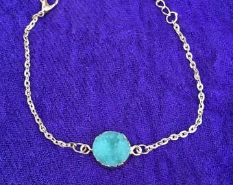 Rough Green Quartz Gold Chain 8' Bracelet