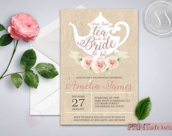 Bridal Tea Party Invitation, Bridal Shower, Tea Party Invitation