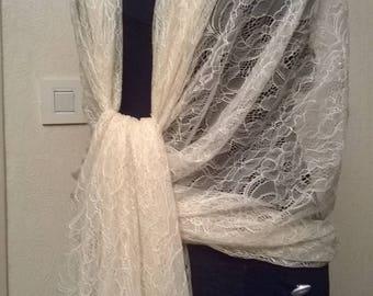 Large wedding shawl in ecru lace