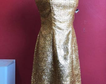 50's tailored made gold dress