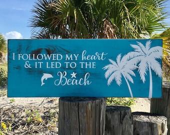 Custom Beach Sign, Ocean Decor, Tropical Home Decor, Vacation Sign, Beach Lovers Gift, Beach Wood Sign, Palm Tree Decor, Rustic Beach Decor