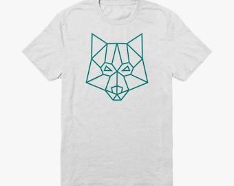 Organic white summer T-shirt with turquoise geometric minimal wolf logo