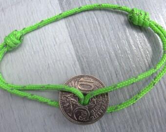 Bracelet adjustable Navy cord with pierced piece