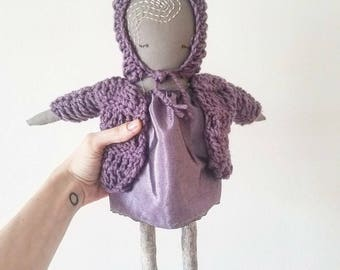 "MAVEN MAUVE--One-of-a-kind, Handmade, 18"" Heirloom Ragdoll. Perfect gift for kids or children's room decor!"