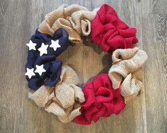 American Flg Butlap Wreath. Fouth of July Wreath