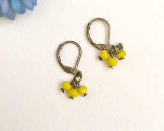 Yellow Earrings, Bronze Earrings, Girls Earrings, Vintage Style