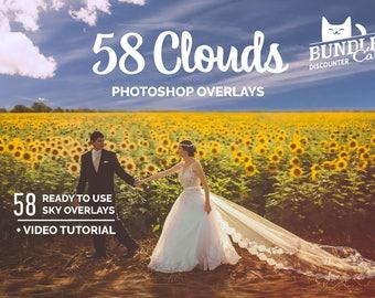 BOGO FREE: 58 Cloud Photo Overlays. Photoshop overlays for Sale, Sky Overlays, Photography Overlays, Photoshop Sky, Sunset Overlays