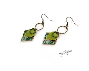 Earrings green geometric diamond sequin - By Poljane