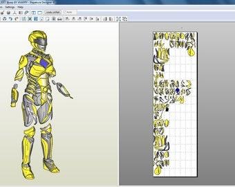 Power Rangers 2017 Yellow Ranger full suit pepakura foam files