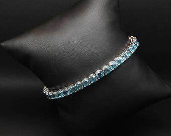 Blue Zircon Bracelet in White Gold