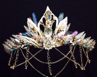 Mini Mermaid Shell Crown Festival Headpiece with Quartz