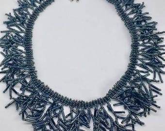 Gray Fringe Necklace
