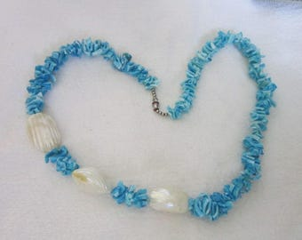 1960's Retro Blue Pucca Shell Necklace with Mother of Pearl
