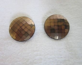 Antique Art Deco Flapper Girl Black Glass Disc Checkered Clip on Earrings