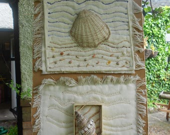 Original Mixed Media Textile Wall Hanging ' Sea Shells '