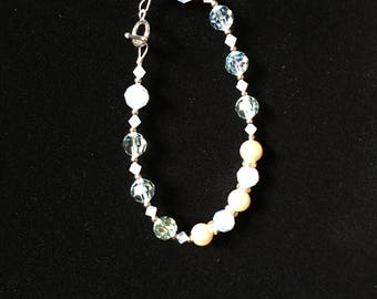 Glass bead and sterling silver bracelet