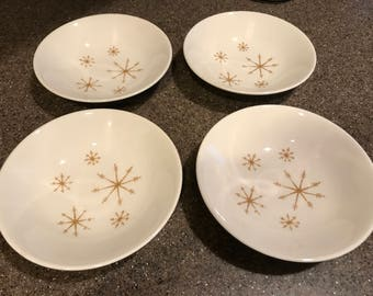 Mid Century / Star Glow Royal - Ironstone / Atomic Gold Starburst / Set of 4 Berry Bowls / Vintage
