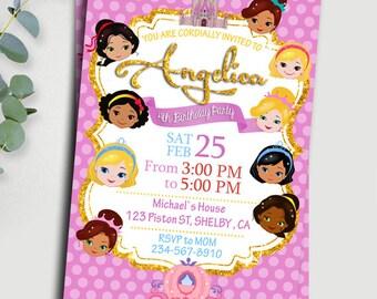 Disney Princess Invitation. Disney Princesses Birthday Invitation.Chalkboard Disney Princess Invitation. Blackboard Disney Princess Invites