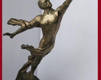 Vintage bronze sculpture Soviet Russian astronaut Yuri Gagarin USSR space