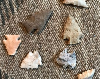 Ancient Native American Arrowheads- Lot of 7