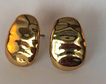 Vintage Monet signed gold tone rippled effect earrings